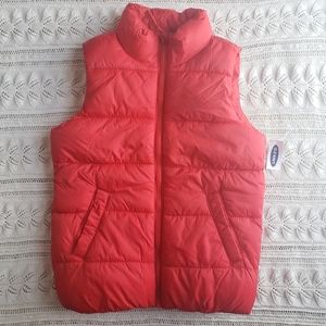 💕💕Old Navy Red puff vest size 8 fleece lined A27